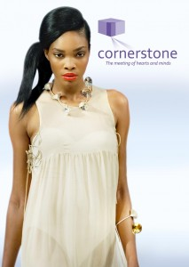 image of model wearing fanfare necklace from the Cornerstone range by Paul Spurgeon design