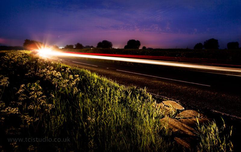 Roadside at night