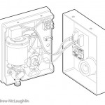 electric shower unit linework technical illustration
