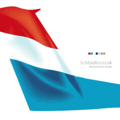 Tail fin artwork designed and produced for Luxair airlines