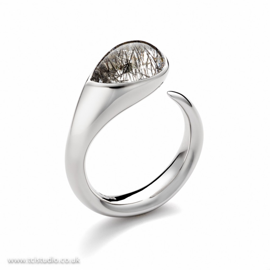 Silver stone set ring from the Cornerstone collection jewellery photography and retouching by tcistudio.co.uk The creative Image Studio