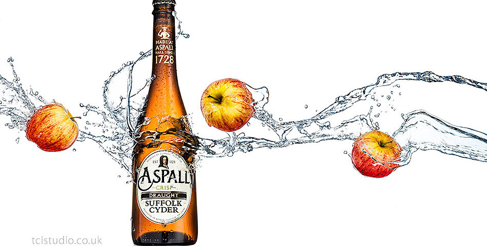 Liquid advertising photography – Aspall Cyder splash