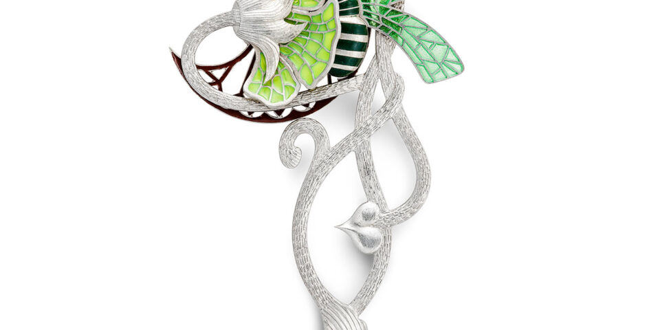 Paul Spurgeon silver and enamel brooch photographed for Goldsmiths Review magazine
