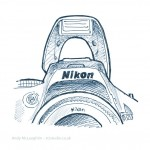 technical illustration sketch of Nikon SLR pop-up flash