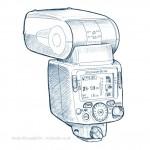 technical illustration sketch of Nikon Speedlight flash