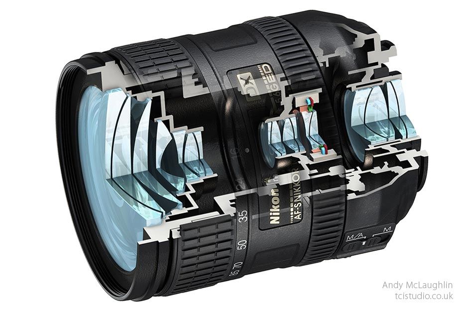 3d and photomontage sectional technical illustration of a Nikon lens
