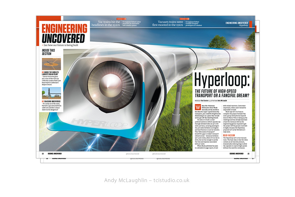 technical illustration comissioned for Science Uncovered - Hyperloop