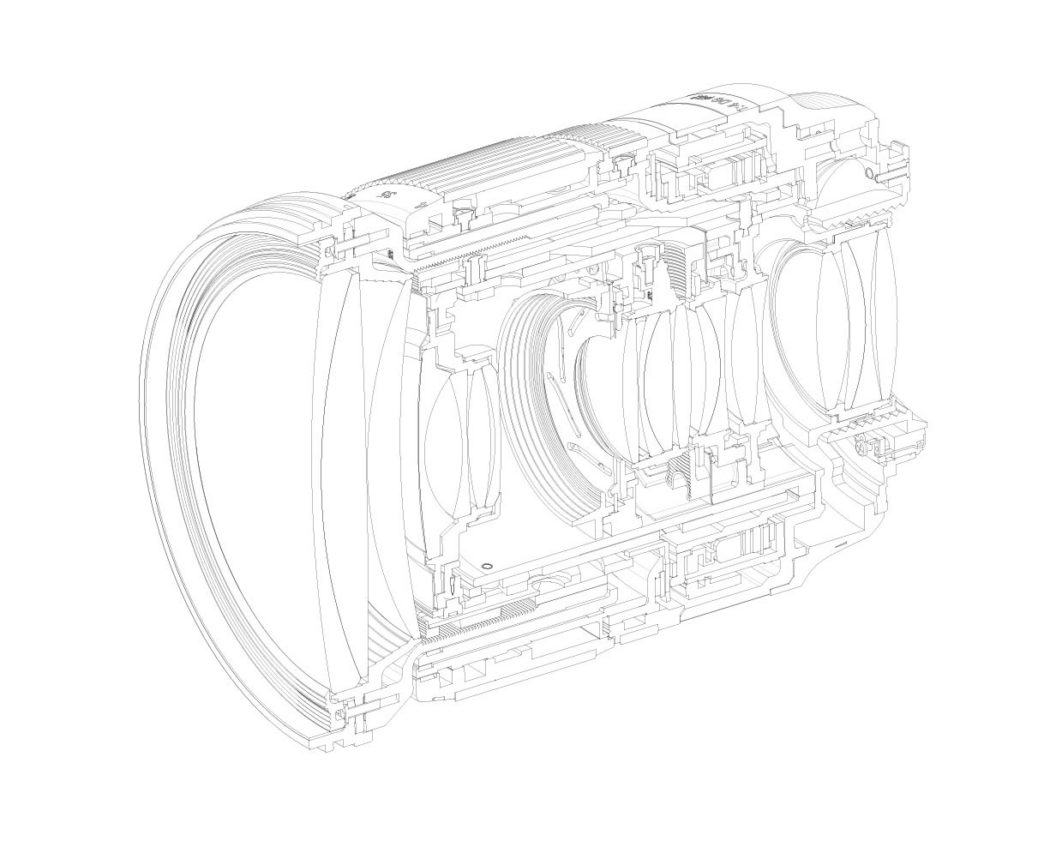 lens x-section cad linework