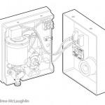 electric shower unit linework technical illustration