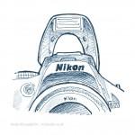 technical illustration sketch of Nikon SLR pop-up flash