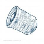 technical illustration sketch of Nikon lens